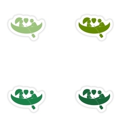 Set of paper stickers on white background love vector