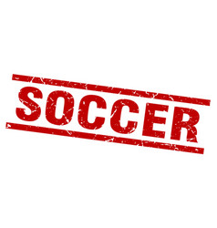 Square grunge red soccer stamp vector