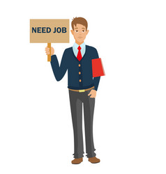 Unemployed man with cv need job vector