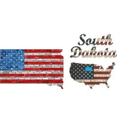 USA state of South Dakota on a brick wall vector image
