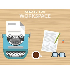 Workspace with typewriter coffee mug notes and vector image