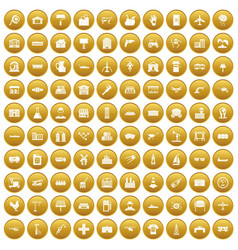 100 industry icons set gold vector