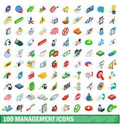 100 management icons set isometric 3d style vector image vector image