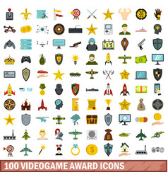100 videogame award icons set flat style vector