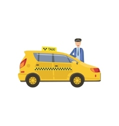 Driver In Uniform And Yellow Taxi Car vector image
