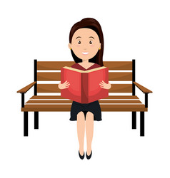 Woman reading book in park chair vector
