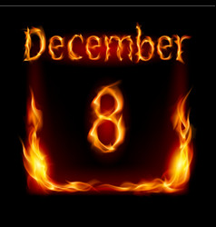 Eighth december in calendar of fire icon on black vector