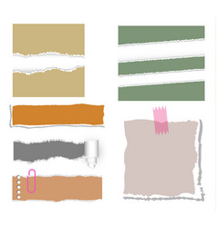 Ripped note paper set vector