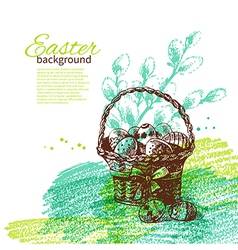 Vintage Easter background with hand drawn sketch vector image