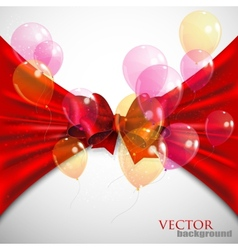 background with red bow and flying transparent vector image