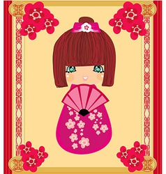 Kokeshi doll cartoon character beautiful abstract vector image