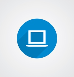 Blue flat laptop icon vector
