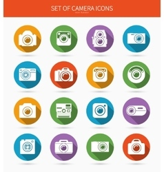 Set of photo or camera icons with long shadows vector