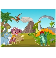 Cartoon group of dinosaur with mountain vector image