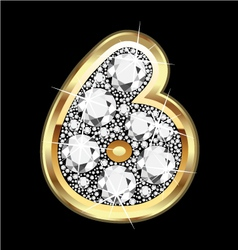 6 number gold and diamonds vector image vector image