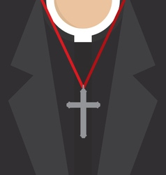 Cross lanyard on priest neck vector