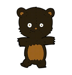 Cute comic cartoon black bear vector