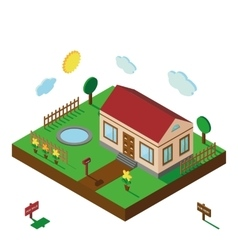 Isometric house3d village landscapeyard vector