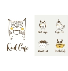 Cute owls cat and panda drinking coffee vector image