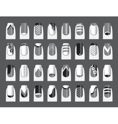 Various of nail designs vector