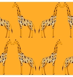 Seamless beautiful adult giraffe in half-face vector