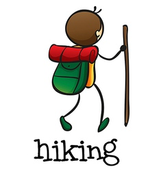 A stickman hiking vector image vector image