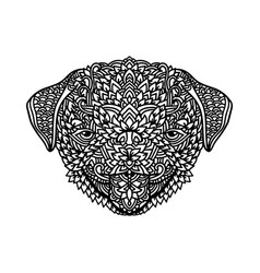 Black and white pug with ethnic floral ornaments vector