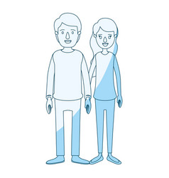 Blue silhouette shading cartoon full body couple vector