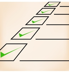 Business goals checklist with green markers lines vector image