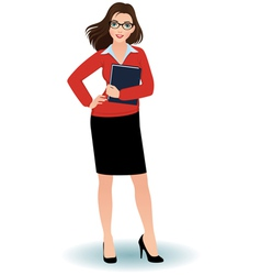 Business woman with a binder vector