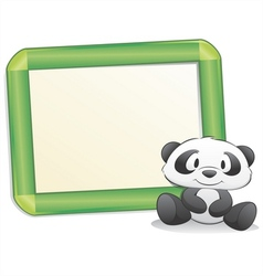 Cartoon panda with frame vector