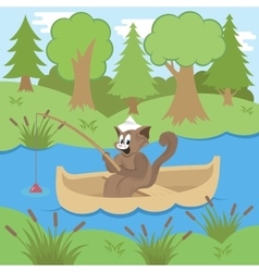 Cat Fishing in Forest vector image