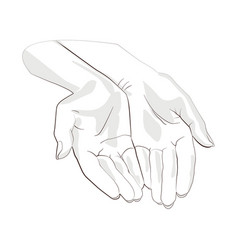 Character pair of hands with exposed palm request vector
