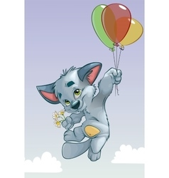 cute kitten on balloons vector image