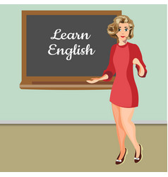 English woman teacher vector