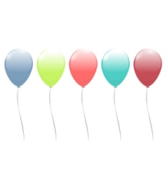 Five multicolor balloons isolated on white vector image vector image
