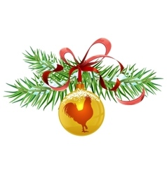 Green fir branch and golden christmas ball red vector