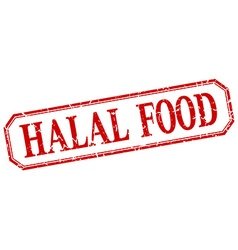 Halal food square red grunge vintage isolated vector