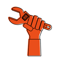 Hand holding wrench tool icon image vector