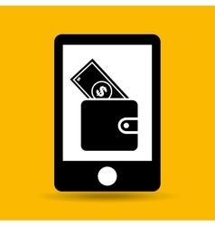 Hand save wallet bill money icon vector