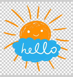 Hello summer hand drawn chalk sun icons on vector
