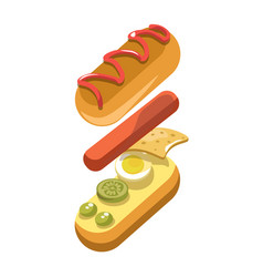 Hot dog sandwich ingredients constructor fast food vector