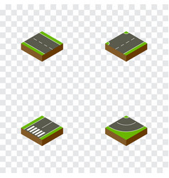 Isometric way set of upwards footpassenger road vector