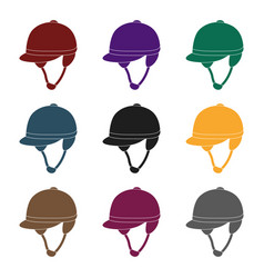 jockey s helmet icon in black style isolated on vector image