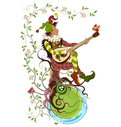 Jolly jester playing the mandolin vector image vector image