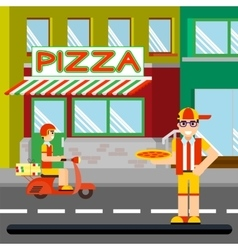 Nice food-deliveryboy with boxes of pizza vector image vector image