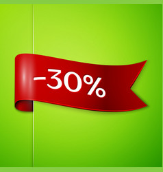 Red ribbon with text thirty percent for discount vector