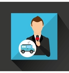 Reporter man truck news design vector