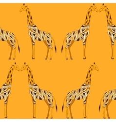 Seamless beautiful adult giraffe in half-face vector