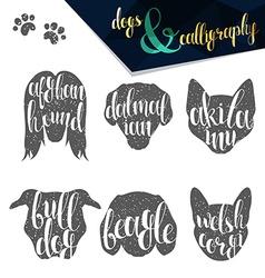 Set names of dog breeds in calligraphy handmade vector
